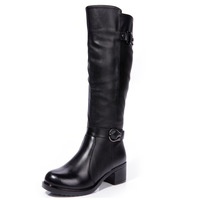 2013 fashion genuine leather boots thick heel boots boots high-leg women's shoes