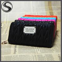 NEW 2014 Fashion Lady Wallet Women Purse Wrist Clutch Zipper PU leather Card Slot Evening Party Bag Drop Shipping