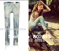 Sexy Fashion Vintage Bandage Leg Slim Skinny Women Jeans Brand Quality Jeans  Female Pencil Pant