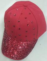 Red rhinestone baseball cap fashion new handmade 6-panel hat women sports cap