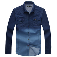 free shipping Rabbit 2013 autumn male denim shirt men's clothing shirt slim dip dyeing gradient male