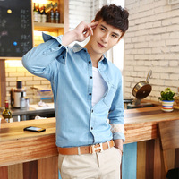 free shipping Men's clothing denim shirt autumn casual long-sleeve shirt male shirt thin outerwear male