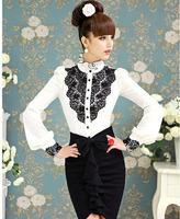 New Arrival Fashion Women Elegant OL Long Sleeve White With Black Lace Shirt vintage Ruffled Puff Sleeve blouses WSH-100