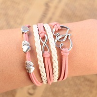 2014 new Design Fashion Sweet Metal Elegant Charm peach heart love Infinity bracelet Leather Multilayer bracelet for women PT36