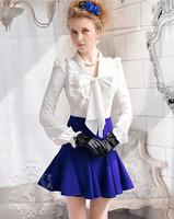 New Arrival Fashion Female Elegant OL Long Sleeve White Shirt vintage Ruffles with bowknot Puff Sleeve blouses WSH-101
