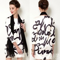 New 2013 Autumn Fashion Loose Letter Print One-piece Dress S M L XL Free Shipping