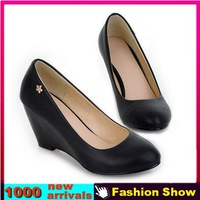 Big Size 34-43 Brand New 2014 Mid Heel Wedges Shoes Sexy Office Dress Footwear Fashion Women Less Platform Pumps XB1025