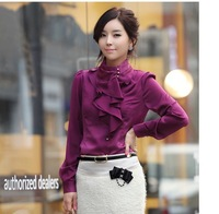 [s984]2013 new fair maiden temperament collar falbala long sleeve hubble-bubble sleeve emulation silk shirt