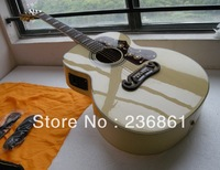 Free shipping wholesale High Quality 6 Strings Dot Spruce Beige SJ Electric Acoustic Guitar With Fisherman Pickups