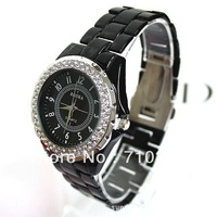 New Luxury fashion Men and women Quartz wrist watches with Rhinestone Ceramic strip watch 20PCS By EMS Free