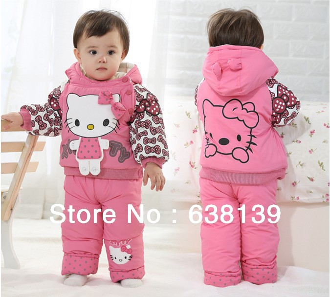 Retail Winter Girl's 2pcs suit tracksuits baby hello kitty cotton-padded suit sets velvet Sport suits hoody jackets + pants(China (Mainland))