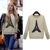 free shipping new 2014 cartoon women's fashion women's fashion eiffel tower pattern long-sleeve casual sweatshirt lululemon