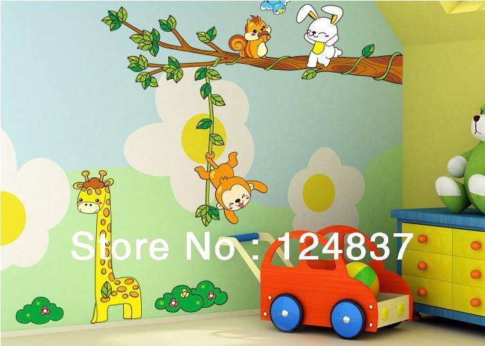 Giraffe Monkey Tree Wall Stickers Kid Room sticker Home Decorative Painting Background Wallpaper Nursery Cartoon Mural Wholesale(China (Mainland))