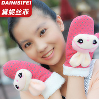 free shipping Doll girls semi-finger gloves winter thermal cartoon animal plush gloves