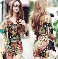 Sexy women's bodycon floral dress new fashion 2015 slim long-sleeve plus size club wear sexy mini dresses