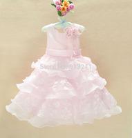 retails,2013 new sleeveless Waist Chiffon Dress Girls Toddler 3D Flower Tutu Layered Princess Party Bow Kids Formal Dress