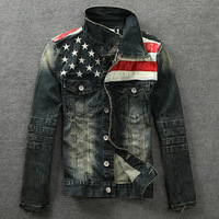 on sale jeans jacket american flag fashion denim coat men's leasure jacket fashion coat hot sale jacke men