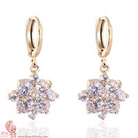 New Arrival shining flower shape free shipping 18 KGD earring KUNIU ER0467