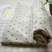 Purple dot polka dot hemp table cloth curtain sofa fabric meters