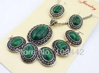 Carving Pattern Jewelry Sets Vintage Oval Egg Malachite Pendant Necklace Earrings Bracelet Silver Chain jewelry 2sets/ot GJS112