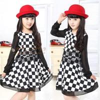Children's clothing female child 2013 autumn black and white plaid one-piece chiffon dress full dress little girlchild