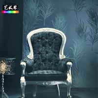 Non-woven feather peacock wallpaper fashion feather wallpaper three dimensional wallpaper phoeni tv background wall