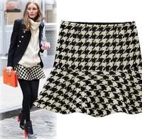 New in 2015 fashion spring autumn woolen saia femininas houndstooth high waist fluffy short mini plaid skirts womens