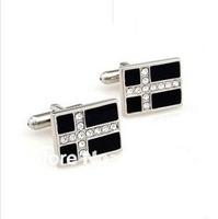MOQ 50 pairs new wholesale black enamel crystal square wedding man men shirt copper cufflinks for men