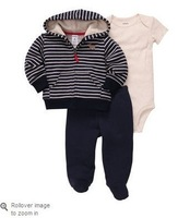 10pcs 100% cotton baby boys longsleeve suit 2014 autumn Carter's 3-piece pant set stripe hooded outfits baby clothes kids wear