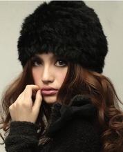 Free Shipping Genuine Knit Rabbit Fur Hat Nature Rabbit fur Cap Headgear Headdress Various Fashion Women  TF102(China (Mainland))