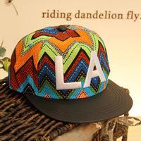 Korean version the new bohemian skin color stripe along la letters hip-hop hip-hop baseball cap flat along the hat