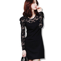 Autumn and winter women plus size slim tight slim hip sexy one-piece dress long-sleeve basic skirt