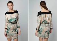 2014 Free shipping Spring autumn Vintage Floral Lace Casual Soft Silk Flower Women's Dress
