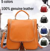 2014 genuine leather cowhide women backpack double-shoulder one shoulder multifunctional women bag vintage one shoulder backpack