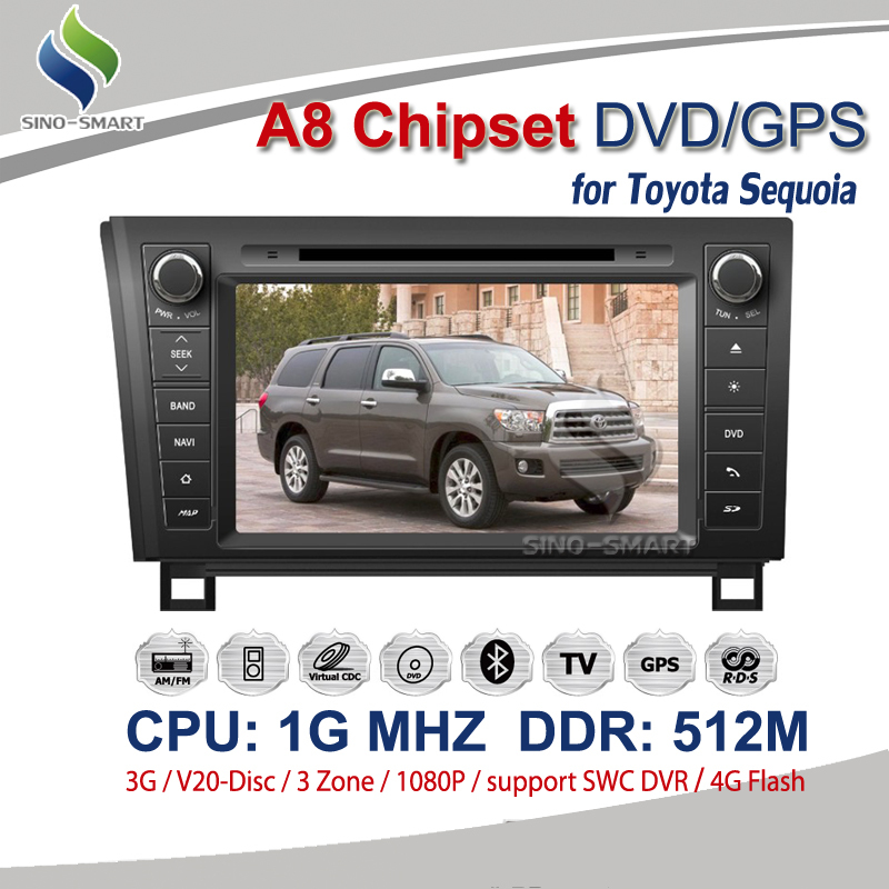 Frequency 1575.42MHZ C/A CODE with Radio iPod TV BT For Toyota Sequoia with CPU 1G DDR 512M Support DVR +4G map(Hong Kong)
