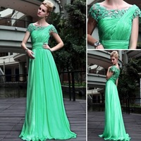 Elegant Lace embroidery Diamond Dress married evening formal dress green fashion formal dress long design 30551