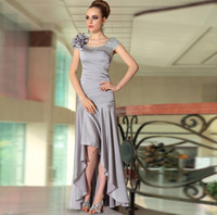 EMS free Solid Color Slim Fashion Evening Dress Long Short Design Grey Quality Double-shoulder Long Design