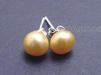 SALE 7.5-8mm Orange Flat Natural Freshwater Pearl Earring and Stering Silver 925 stud! -ear359  wholesale/retail Free ship