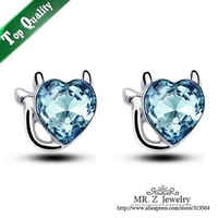 New Arrivals Valentines Gift Cute Cat Jewelry Women Austrian Crystal Heart Stud Earrings Free Shipping
