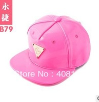 Ms H series hip-hop cap cute pink doll flat along the hip-hop cap leather