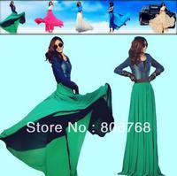 Plus size skirts womens new 2014 summer fashion maxi skirts long big elastic high waist pleated ruffle chiffon skirt white green