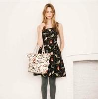 2014 New Arrival Ladies' elegant Bird print Dresses O-neck Sleeveless casual slim brand designer dress