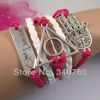 new 2013 bracelets & bangles items,for lovers,one direction,harry port,big hand,white pink Leather Cords bracelet C007