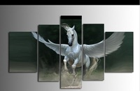 100% hand-painted oil painting, wholesale high quality oil paintings, 5p combination Pegasus decorative wall art painting,