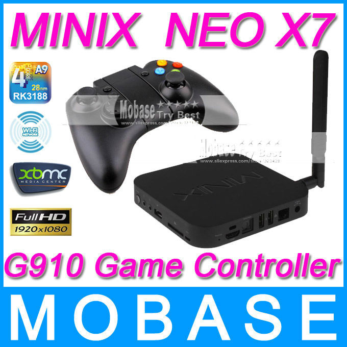 [G910 Bluetooth Game Controller]MINIX NEO X7 Android TV Box Quad Core Mini PC 1.6GHz 2G/16G WiFi HDMI USB RJ45 OTG XBMC Smart TV(China (Mainland))