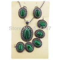 3pcs Oval Malachite Vintage Women Antique Silver Plated Earrings Bracelet Necklace Jewelry Set  JS112