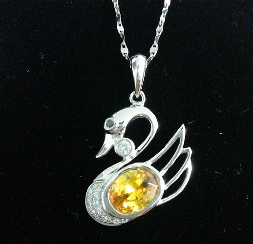 Wholesale 1.7ct Yellow Saphire & Natural Dia 100% Real 9K375/14K 585/18K 750 Solid White gold Swan Fashion Pendant Hallmark(China (Mainland))