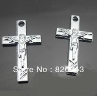50pcs 32mmx20mm Zinc alloy with Jesus Christan Chrome Cross Hang Pendant Charms