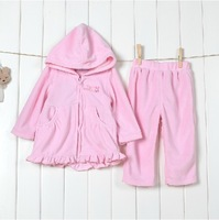 lovely fashion spring children's long sleeve hooded jacket +trousers 2pcs set autumn children's casual warm clothing suit