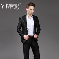 suit set men's clothing outerwear male suits black matt business casual men's clothing